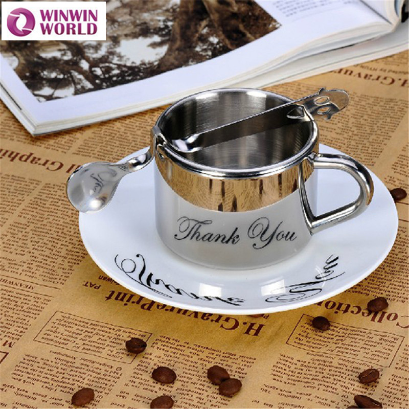 02b4d6d0ab6 180ML Double Wall Stainless Steel Coffee Mugs Espresso Mugs Set Beer Copo  Fun With Spoon And Tray Food Grade Tea Mug Best Gift