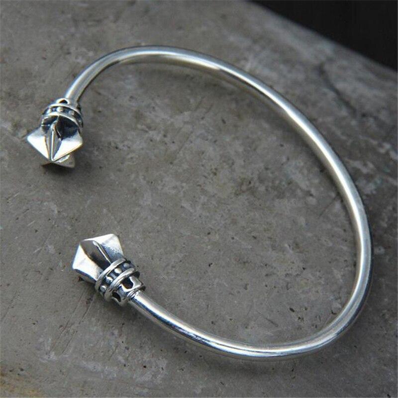Fashion Jewelry S925 Sterling Silver Retro Thai Silver Bangle Double Stars Men And Women Open Cuff Bangle Wide 8.7mm 15.40g glitter stone open cuff bangle