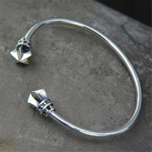 Fashion Jewelry S925 Sterling Silver Retro Thai Silver Bangle Double Stars Men And Women Open Cuff Bangle Wide 8.7mm 15.40g