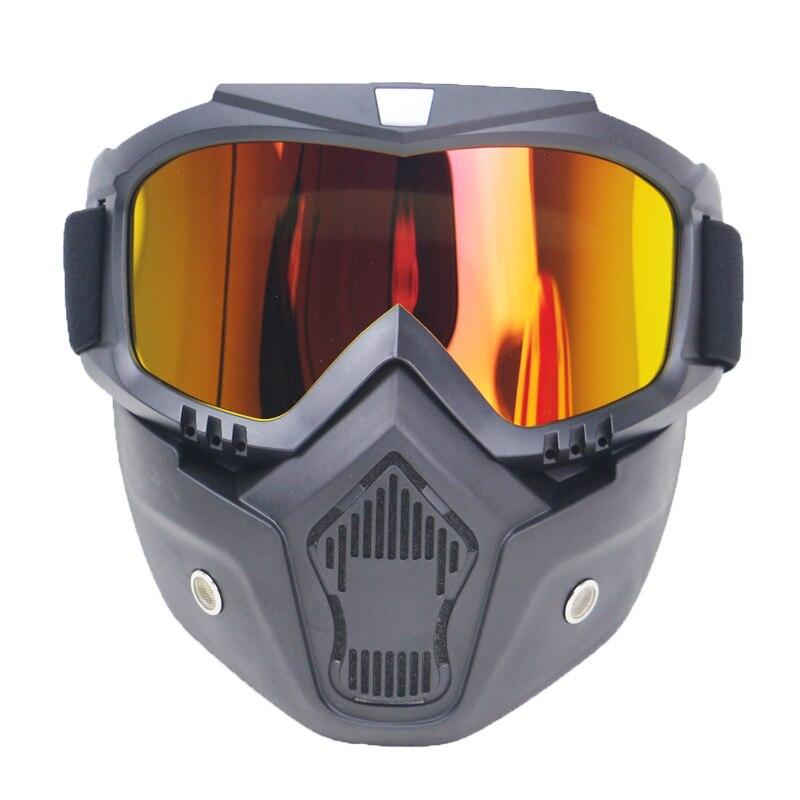 Outdoor Moto Viso Aperto Caschi Da Sci Staccabile Goggle Per Moto D'epoca Bike Motorcorss Faccia Occhiali Maschera
