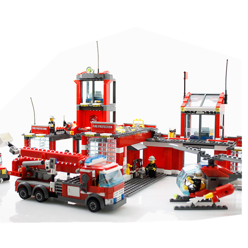 774pcs City Fire Station Truck Helicopter Firefighter minis Building Blocks Bricks Toys brinquedos toys for children YHG028 kazi fire department station fire truck helicopter building blocks toy bricks model brinquedos toys for kids 6 ages 774pcs 8051