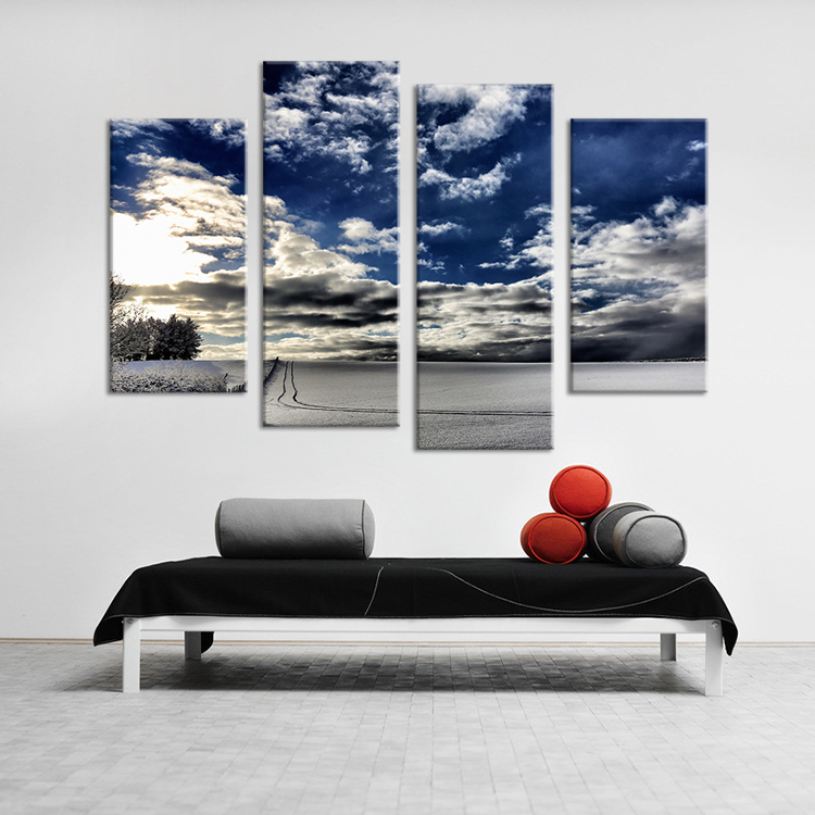 4 Piece winter living rooms set cloud oil painting Wall print on canvas for home decor ideas paints on Wall pictures No framed