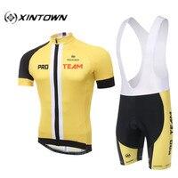 Xintown abbigliamento ciclismo estivo 2016 jaune hommes de jeux de plein air à manches courtes ropa ciclismo vélo jersey + (bib) shorts