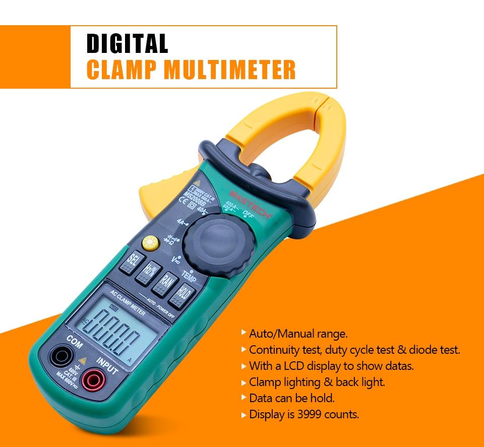 Clamp Meter Digital Multimeter Auto Manual Range Thermometer Amper AC/DC Current Voltage Capacitor Resistance Temperature tester цена