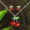 925 серебро ювелирные комплект красный Cherry кулон ожерелье серьги ювелирные изделия девочка дети серебро комплект MDS001