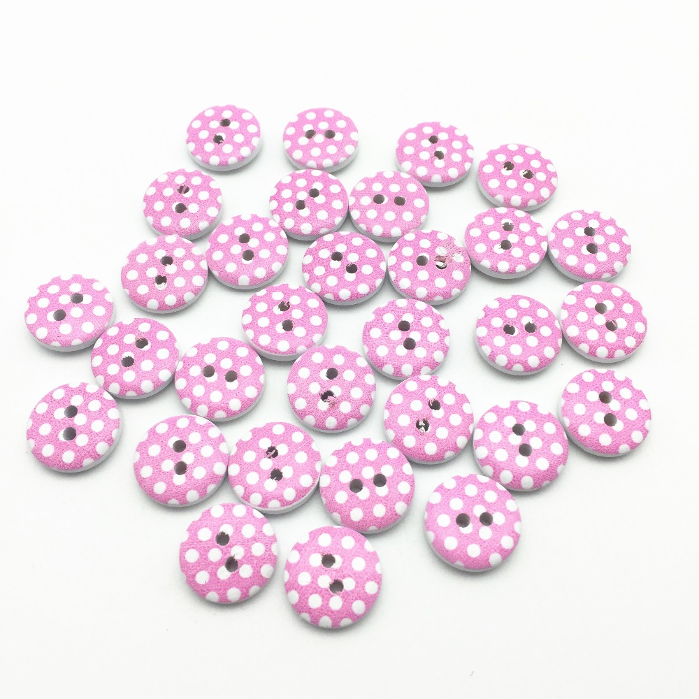 Baby Blue Pink and Black 2-hole White 50 Baby//Children/'s Buttons 15mm Red
