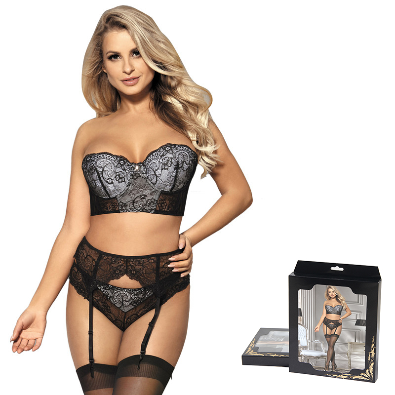 c6937c8cbf1 Comeondear Underwear Sexy Set 3 Piece Delicate Lace Bra Garter Underwear  Women Bra Lingerie Femme Plus Size Bra Set RK80457