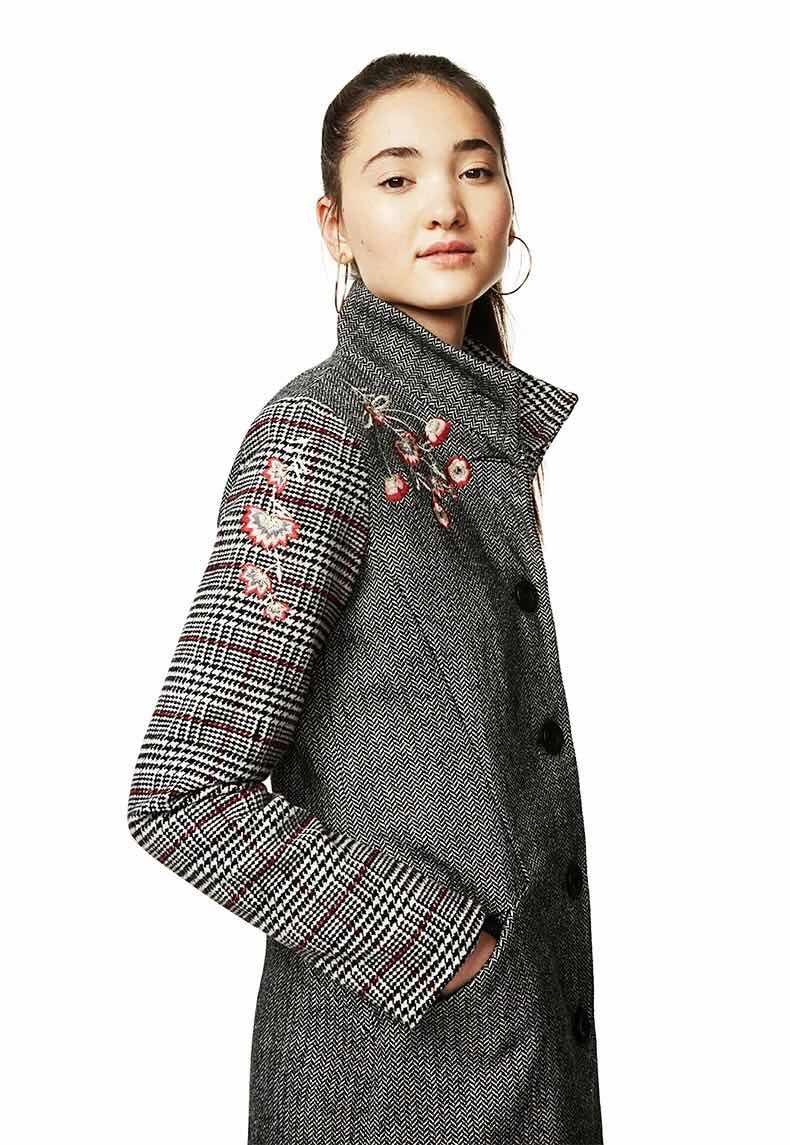 Brodé 2018 Laine D Col Hiver Espagne Manteau Couture Antique Grille YBRYArwq