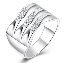 Latest Pure Authentic 925 Silver Ring with Shiny CZ Cubic Zircon Rings For Woman Man Wedding