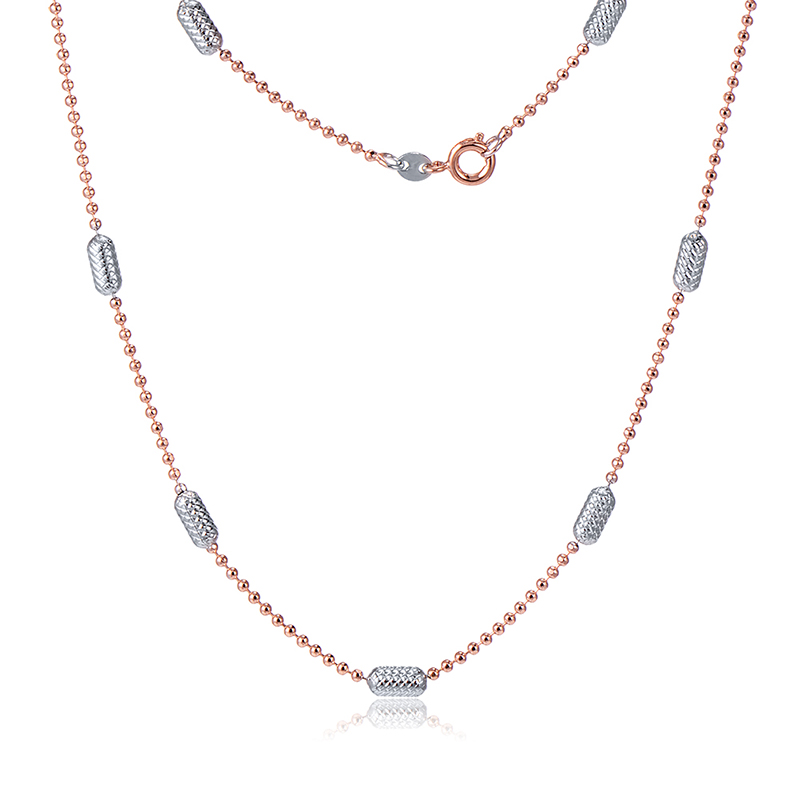 Vintage Silver Gold Beads Rose Gold Color Thin Chain