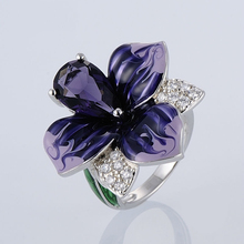 100% 925 Sterling Silver Folwer Rings Women Gorgeous Purple Enamel Flower and Stone Ring for Fashion Jewelry