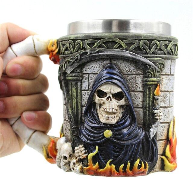 1piece Grim Reaper Skulls Mug Flames Death Skull Coffee Mug Viking
