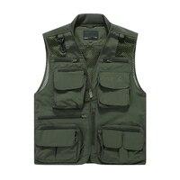 Fashion Four Seasons Mesh Vests Men Breathable Casual Tactical Pockets Vest Military Waistcoat Sleeveless Jacket