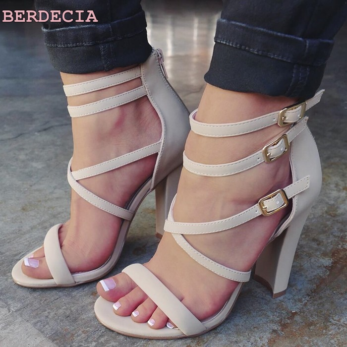 New sexy high heel sandals white high quality leather woman shoes exposed toe chunky heel  shoes ladies cage strappy sandals lf40203 sexy white pink blue strappy heart heel wedge wedding sandals sz 4 5 6 7 8 9 10