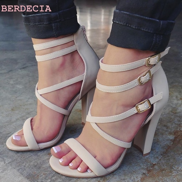bac344a8e5 New sexy high heel sandals white high quality leather woman shoes exposed  toe chunky heel shoes ladies cage strappy sandals