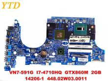 Original for ACER VN7-591 laptop motherboard VN7-591G I7-4710HQ GTX860M 2GB 14206-1 448.02W03.0011 DA0ZQKMB8E0 tested good