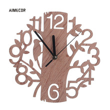 Aimecor Woodpecker And Tree Silent Antique Wood Wall Clock A