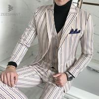 2018 Men Suit Wedding Set di Moda Formale Slim Fit Affari Dress Abiti Giacca Partito Masculino Adatta I Vestiti (Jacket + Pants + Vest)