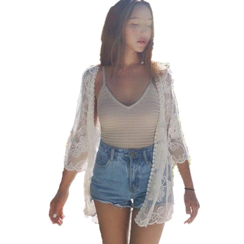 Women Summer Lace Crochet Shawl Kimono Cardigan Tops Beach Cover Up Shirt Blouse