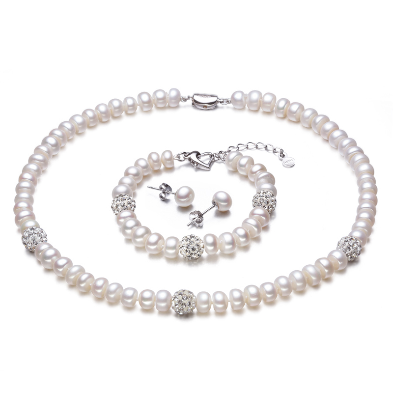 RUNZHUQIYUAN 2017 New White Color Pearl necklace Sets 8-9mm White Natural Pearl Jewelry 925 sterling silver jewelry For WomenRUNZHUQIYUAN 2017 New White Color Pearl necklace Sets 8-9mm White Natural Pearl Jewelry 925 sterling silver jewelry For Women