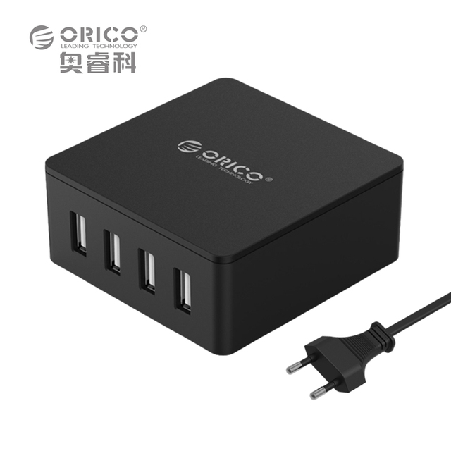 ORICO CSK-4U ABS 4 Ports EU US UK Plug Smart Phone Super Charger 5V6.0A30W Output - Black/White