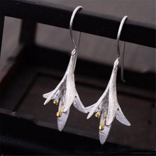 YKNRBPH Womens S925 Sterling Silver Drop Earrings Simple Vintage Anniversary Flowers and Plants Fine Jewelry