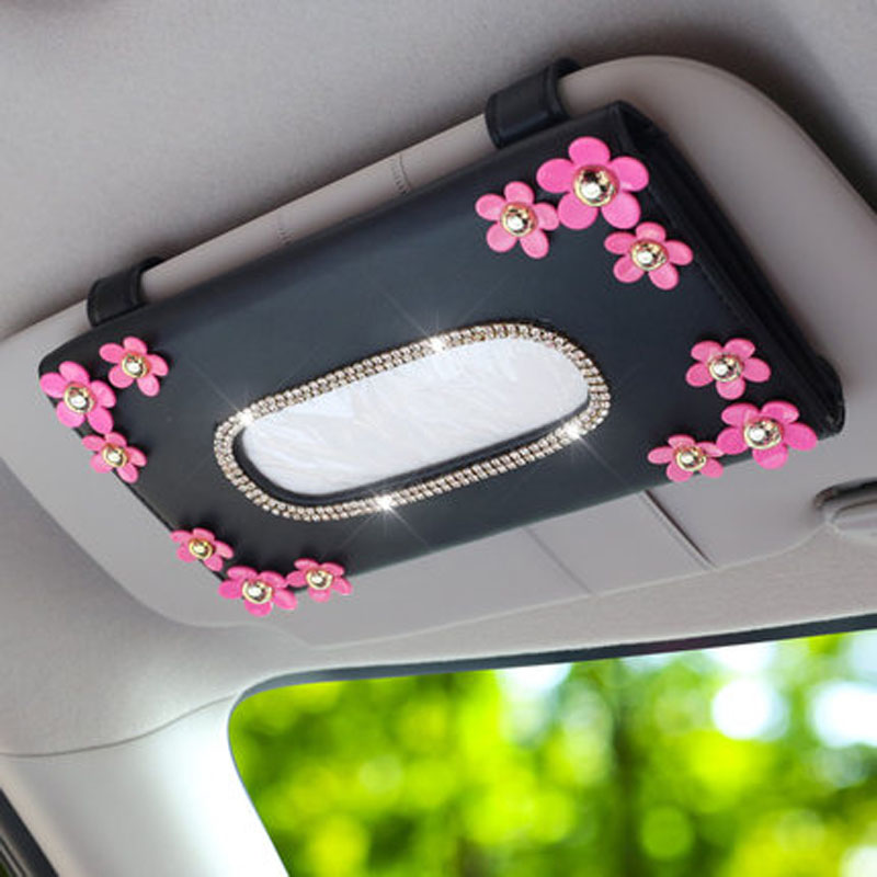 Car sun visor tissue box holder PU Leather with flower hanging pater towel case napkin Storage bag for car interior accessores