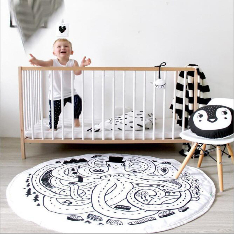 Play Mats Round White Octopus Maze Floor Mat Parent-child Interaction Play Game Pad Childrens Room Shooting Decorative Props ...