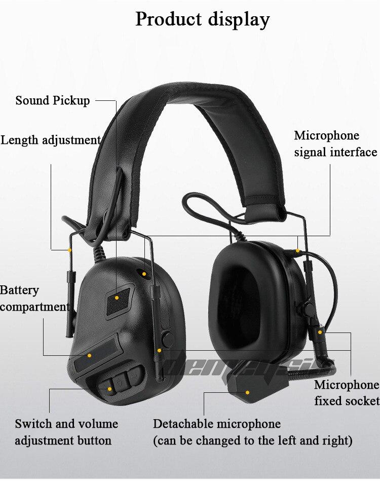 Tático fone de ouvido som captador redução