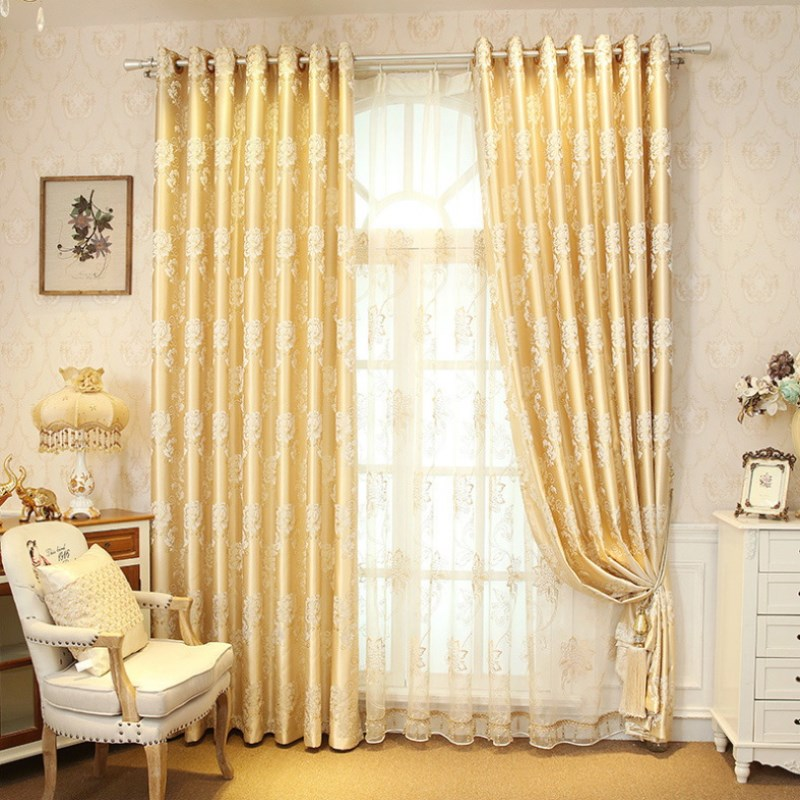 Luxury Gold Curtains Jacquard Tulle For Living Room Cloth