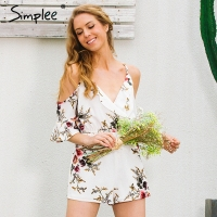 Simplee Cold Shoulder Ruffles Print Jumpsuit Romper Women Strap V Neck Backless Short Overalls Summer Beach