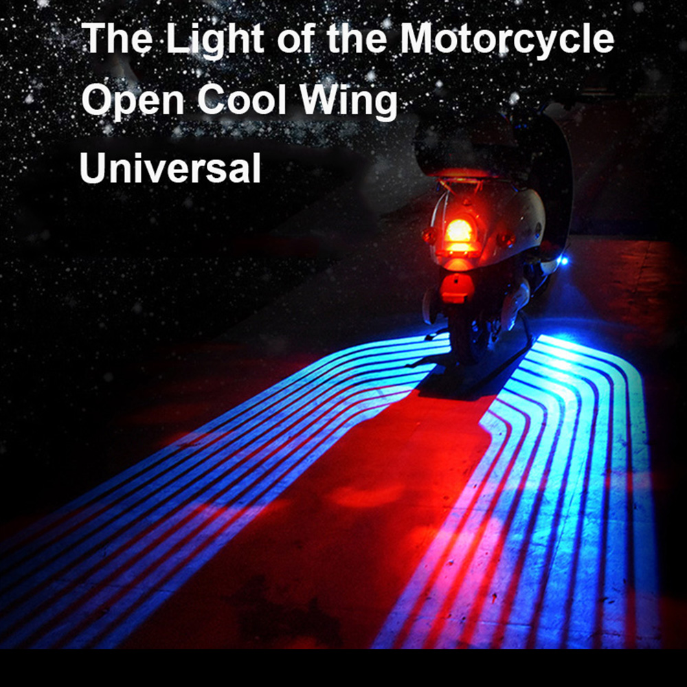 2018 Motorcycle Angel Wings LED Welcome Lights Motor Door Courtesy Projector Light Puddle 12V White  Red Blue  RGB fit all cars