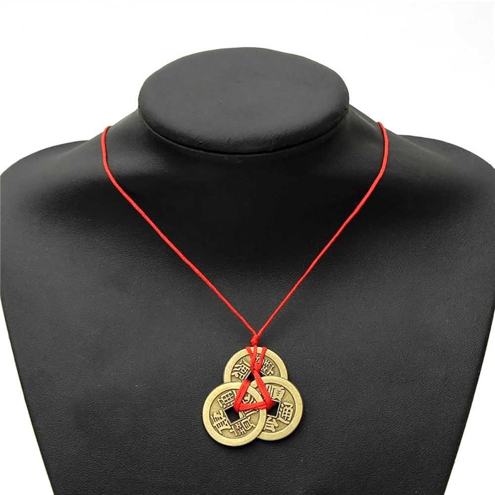 Afortunado chinês Moedas Antigas Pingente de Boa Sorte Feng Shui Fortuna Dinheiro Senhoras Colar de Presente Jewellry Colares pingente de moeda De Cobre