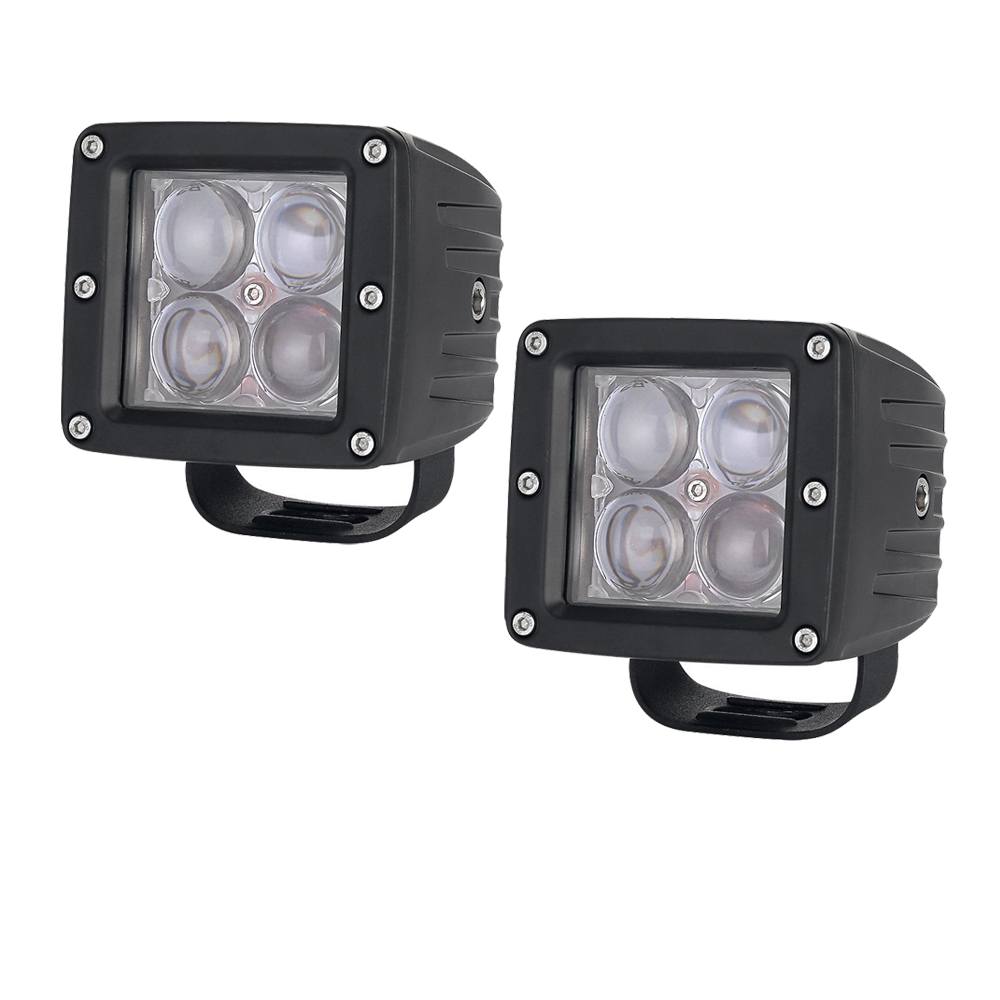 2pcs 20W LED Work Light Bar 3x3 Cube Pods 4D Cup Square Spot/Flood Beam Offroad Driving for SUV ATV 4x4 4WD Truck Motorcycle 1pc 4d led light bar car styling 27w offroad spot flood combo beam 24v driving work lamp for truck suv atv 4x4 4wd round square