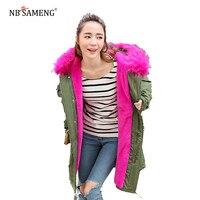 2018新しいファッション女性冬特大ロングフード付きの毛皮のコートプラスサイズ厚いフード暖かいジャケットアーミーグリーンピンク黒13W0227