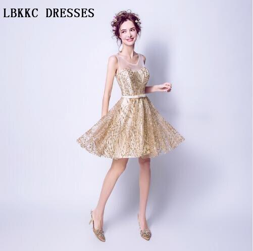 Gold Cocktail Dresses Knee Length Sequin Vestidos De Coctel Elegantes
