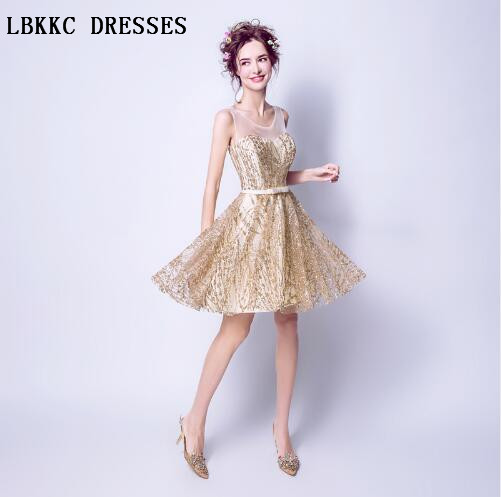Gold   Cocktail     Dresses   Knee Length Sequin Vestidos De Coctel Elegantes