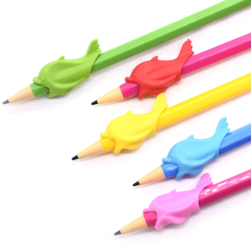 5 штук в партии рыбы Стиль ручки Карандаш, эргономичный, написание помощь для правшей, 5 разных Цвета ...