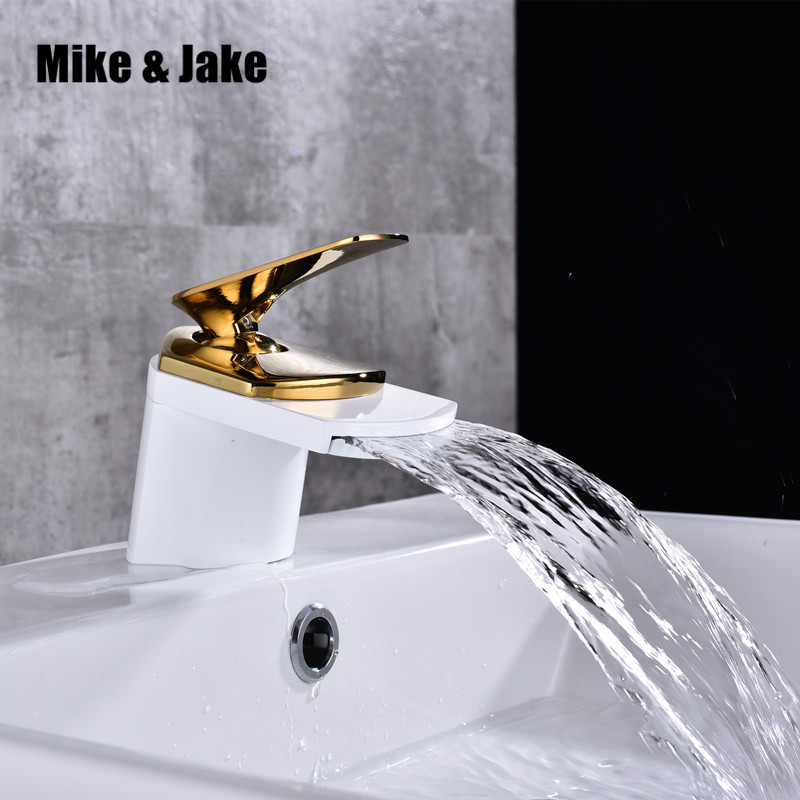 Gold white bathroom Faucet basin waterfall crane hot and cold faucet basin mixer torneira faucet water tap brass mixers цена