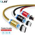 Олаф Магнитная плетеный кабель светодиодный Тип C Micro USB Магнитный зарядный кабель usb для Apple IPhone X 7 8 6 Xs Max XR samsung s9 шнур - фото