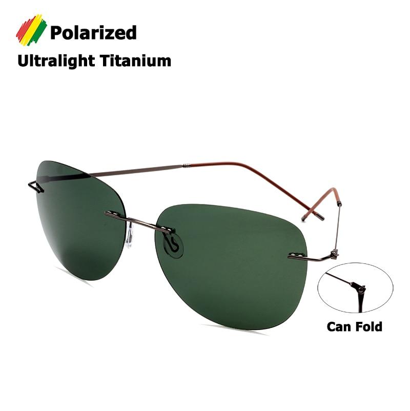 JackJad Men Ultralight Titanium Polarized Folding Hinge Sunglasses Rimless Aviation Style Brand Design Sun Glasses Oculos De Sol