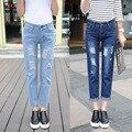 Мода 2016 Женские дырявые джинсы карандаш, высокая талия, длина до середины лодыжки, большие размеры