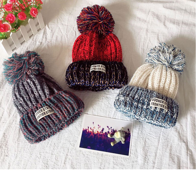 Autumn And Winter Children's Hat Wool Thickening Boys' And Girls' Hats Children's Warm Hats Autumn And Winter Knitted Hats