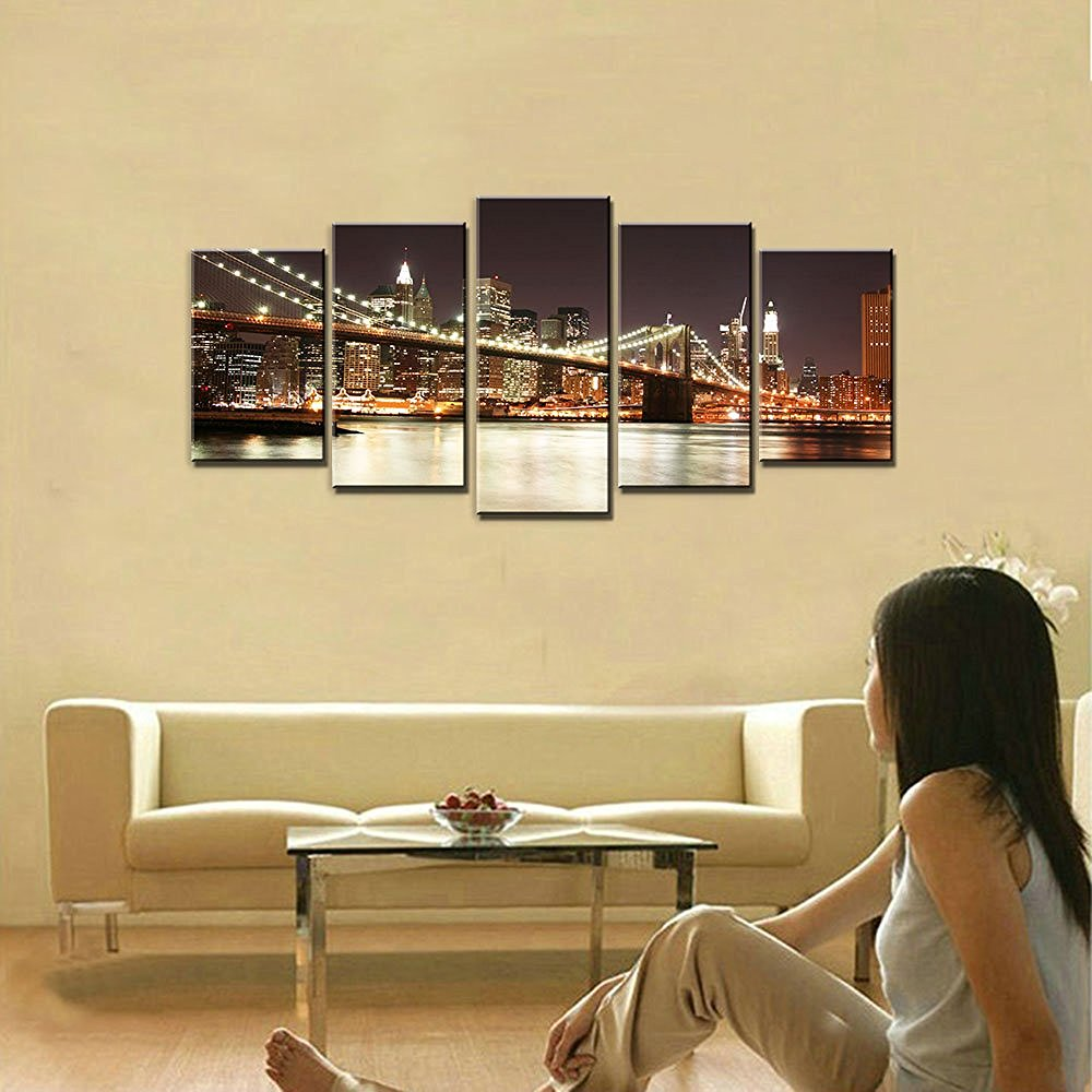 Modern 5 Panels Canvas Prints on Canvas Wall Art Work The Brooklyn ...