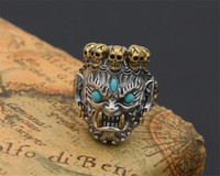 BESTLYBUY 100% Real 925 Sterling Silver Ring Men Jewelry Bless Lucky Buddha Blue turquoises Ring Adjustable Gift Fine Jewelry