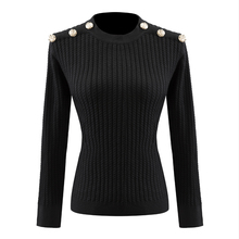 High Quality Classic Designing Women Black & White Pullovers Buttons Kniting Sweaters Spring Stretchy Casual Sweaters