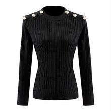 높은 품질 클래식 디자인 여성 블랙 & 화이트 Pullovers 단추 Kniting 스웨터 봄 스트레치 캐주얼 스웨터