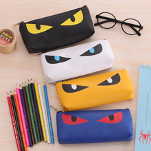 Hot selling Korea Cute Cartoon Cat Eye PU Pencil case Monster Pencil bag University Pencil case