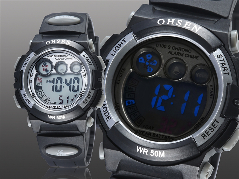 Fashion OHSEN Brand Sports Watches Children LED Digital Watch Kids Multifunctional Wristwatches Alarm Stopwatch Student Clock (13)