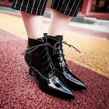 New Fashion Women Ankle Boots Gladiator Lace Up Spiked High Heels Winter Warm Fur Shoes Pointed Toe Platform  Boots big